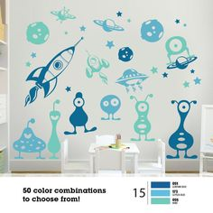30Pcs ALIEN SPACE Monsters Rockets Planets Spaceships Stars Vinyl Wall Decal Graphics Bedroom Decor 3 color Removable Vinyl