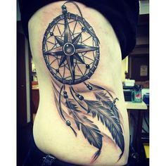 Znalezione obrazy dla zapytania dream catcher compass tattoo