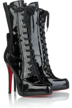 christians, fashion, shoe fetish, ankle boots, louboutin boot, patent, christian louboutin, boot black, christianlouboutin