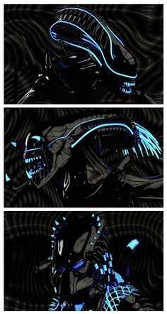 Glow-y Alien vs. Predator by Habe Keinen If the battle between the Alien and Predator (and Predalien because we don't discriminate here at ianbrooks.me) took place on the Grid in Tron, it just might resemble these shiny digital 3D models by Habe: because everything is proven to be better with glow-y bits.
