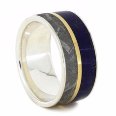 Lapis Lazuli Ring with Meteorite and Yellow Gold Pinstripe.