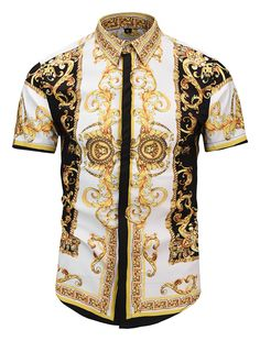 a0bff092 Pizoff Men's Short Sleeve Luxury Print Dress Shirt AL003-44 Urban Fashion  Women, Urban