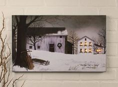 New Billy Jacobs Winter Farmhouse Barn Sled Lighted Window Wall Art Picture #Country