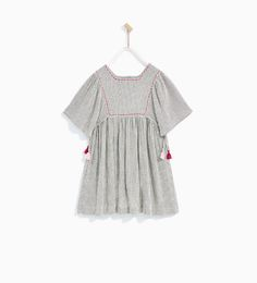 Image 2 of EMBROIDERED DRESS WITH POMPOMS from Zara