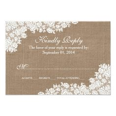 Lace Save the Date Wedding The Rustic Burlap & Vintage White Lace Collection Card