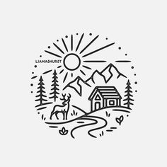 Drawing Tips, Line Drawing, Drawing Ideas, Spring Scene, Simple Doodles, Simple Art, Art Plastique, Logo Design Inspiration, Pyrography
