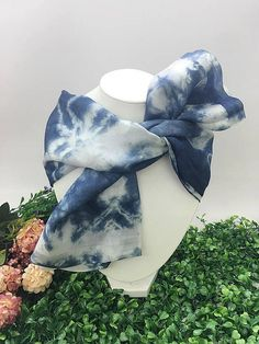 CadetBlue Hand Dyed Silk Scarf Anniversary Birthday Gift for