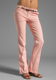 Sanctuary Liberty Chino Trouser with Belt in Peach Tea