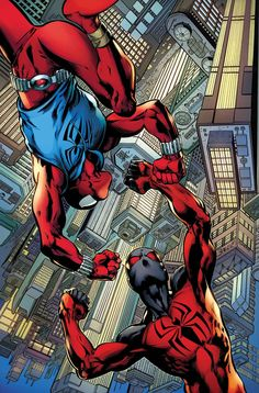 Ben Reilly: Scarlet Spider Written by Peter David Art by Mark Bagley Cover by Mark Bagley Will Kaine finally catch up to his clone-brother? Marvel Comics, Marvel News, Dc Comics Art, Marvel Art, Marvel Heroes, Marvel Characters, Scarlet Spider Ben Reilly, Scarlet Spider Kaine, Spiderman Art