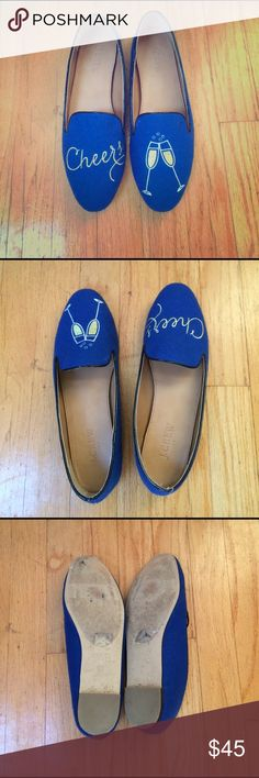 """J. Crew CHEERS Loafers Rare 7.5 J. Crew Factory Cheers Loafers. 7.5. Features embroidered gold """"Cheers"""" and champagne flutes. Great gift for a bride to be! Worn once. Look brand new. Smoke and pet free home J. Crew Shoes Flats & Loafers"""