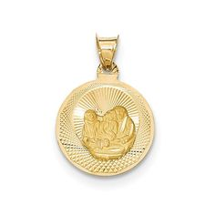 Roy Rose Jewelry 14K Yellow Gold Polished and Diamond-cut Baptism Circle Pendant. Finest Quality from Roy Rose Jewelry. Selling Online Since 1999. 30 Day Return. 100% Satisfaction Guaranteed. Free Jewelry Box Included.