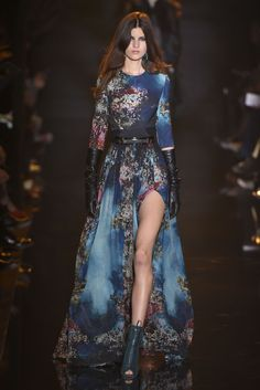 For fall, Elie Saab's high-maintenance ladies assumed a slightly tougher guise. [Photo by Giovanni Giannoni]
