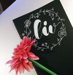 personalized notebook 🖋 #bw #moleskine #bujo #bulletjournal #flowercrown #gift #friends