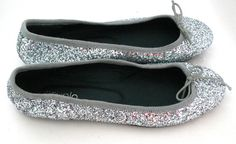 Paruolo Silver Leather Ballet Flats Glitzy Shoes Size 36 US 6 Made In Argentina #Paruolo #BalletFlats #Casual