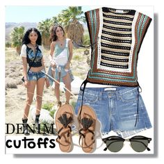 """Denim Cutoffs"" by teah507 ❤ liked on Polyvore featuring Forever 21, J Brand, Hollister Co., RED Valentino, Ray-Ban, summerstyle and DENIMCUTOFFS"