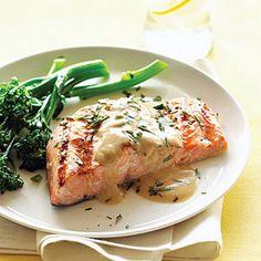 Grilled Salmon with Mustard-Wine Sauce Recipe Main Dishes with minced garlic, salt, ground black pepper, olive oil, fresh lemon juice, salmon fillets, butter, flour, paprika, milk, dijon mustard, dry white wine, fresh basil leaves, fresh rosemary