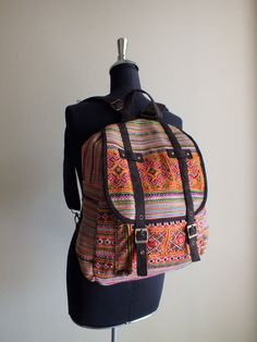 Backpack Hmong Ethnic handmade bag vintage by shopthailand on Etsy, $39.99