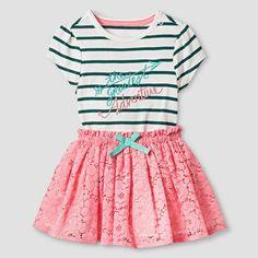 Baby Girls' Bodysuit and Skirt Baby Cat & Jack - Green/Pink, Infant Girl's