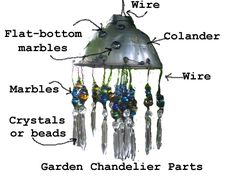 Make A Garden Chandelier. Bring Bling To The Garden. - Empress of Dirt You could also use a shop light in place of colander.