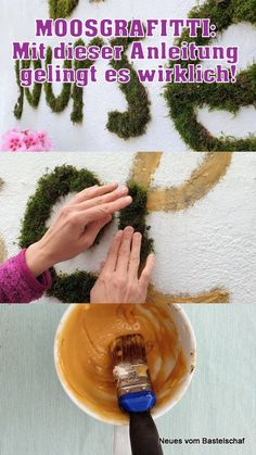 Anleitung für Moosgraffiti With this recipe it really works and you have a beautiful mural or letter Graffiti En Mousse, Amazing Gardens, Beautiful Gardens, New Kitchen Doors, Hydrangea Seeds, Fleur Design, Pastel Designs, Preparing For Marriage, Graffiti Wall