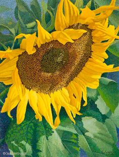 | New Sunflower Painting in Pointillism [Sunflowerpainting1]