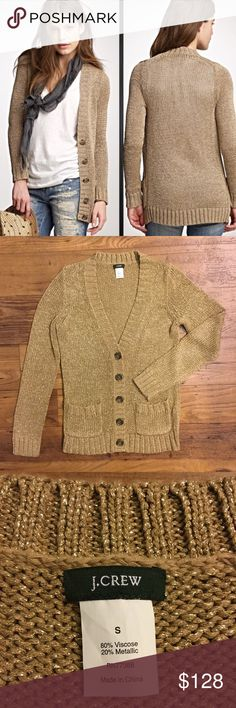 J. Crew Metallic Beach Cardigan Gold 80% Viscose, 20% Metallic, shimmers at an angle, pockets, (A) J. Crew Sweaters Cardigans