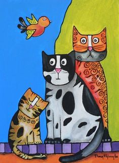 I Love Cats, Cool Cats, Bunny Painting, Cat Character, Cat Cards, Cat Colors, Cat Drawing, Whimsical Art, Pet Birds