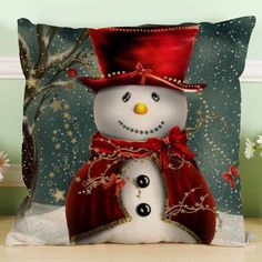 18*18'' Cushion Cover Christmas Gift Santa Claus Christmas Tree Snowman Printing Linen Throw Pillowcase