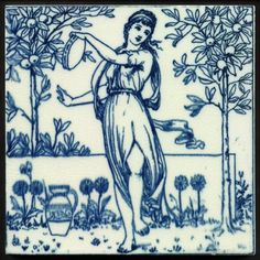 Wedgwood Blue & White Classical Musicians in the Orange Grove Tile c.1880