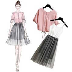 Pin av kimi på korean fashion fashion, fashion sketches og f Asian Fashion, Look Fashion, Fashion Art, Trendy Fashion, Girl Fashion, Fashion Trends, Vestidos Fashion, Fashion Dresses, Fashion Clothes