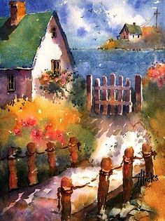 ART~ The Winding Path To The Wooden Gate~ I Simply Love This Painting! ~ J Hicks, Watercolour.