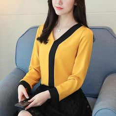 2018 fashion chiffon office lady shirt women blouse long sleeve V-neck women tops patchwork women's clothing shirts Tops 30 - Bluse Blouse Styles, Blouse Designs, Yellow Blouse, Yellow Top, Dressy Tops, Long Blouse, Office Ladies, Blouses For Women, Cheap Blouses