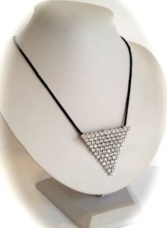 Sterling Silver Diamond Triangle Necklace by WOWTHATSBEAUTIFUL