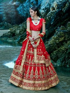 Red Bridal Netted Circular Online Lehenga Shop Dress ,Indian Dresses - 1