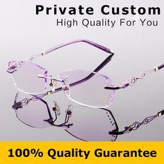 85c16cdaa3 Brand Designer Myopia Glasses Women Glasses Frame Optical Ladies Eyeglasses  Rimless Frame with Box Reading Eye