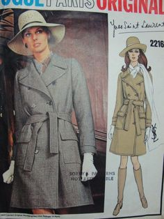 1960s FAB Yves Saint Laurent TRENCH COAT Pattern Vogue Paris Original 2216  Double Breasted YSL Design Coat Bust 38 Vintage Sewing Pattern + Sew In Label