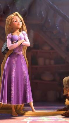 Princess Rapunzel in a confident way.