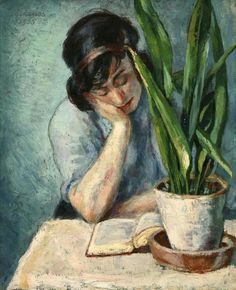 """Woman Reading with Mother-in-Law's Tongue"" by Albert Reuss (Budapest-born, Austrian, English, Oil on canvas - Newlyn Art Gallery Reading Art, Woman Reading, Love Reading, Reading Books, Reading Lists, I Love Books, Books To Read, Arte Van Gogh, Mother In Law Tongue"