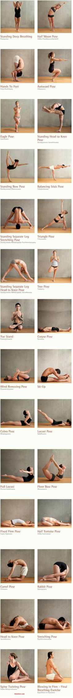 Bikram The best yoga poses filmstrip. Here are 26 different yoga poses and 2 breathing excercises to work out your body inside out. Stimulate your organs, glands and nerves. Increse the oxidization through your whole body. Vinyasa Yoga, Ashtanga Yoga, Bikram Yoga Poses, Hard Yoga Poses, Kundalini Yoga, Fitness Del Yoga, Sport Fitness, Health Fitness, Fitness Shirts