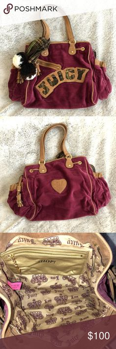 Juicy Couture Handbag/Diaper Bag Gently worn Juicy Couture velour handbag/diaper bag. It's a very large bag with lots of space. Has minor marks and scuffs on brown leather areas. The color is plum. Juicy Couture Bags Baby Bags