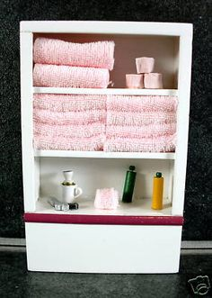Dolls House Miniature 1:12 Scale Furniture White Wooden Bathroom Shelf Unit & Accessories Pink | Melody Jane Dolls Houses