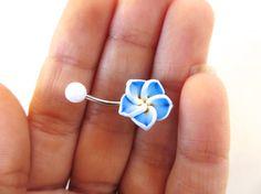 Blue Hawaiian Flower Plumeria Belly Button Ring by Azeetadesigns