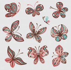 Colorful butterflies cross stitch