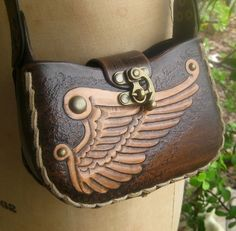 Hermes Wing Small Handmade Tooled Leather Purse by ContrivedtoCharm