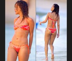 Tiny bikinis  …or cut out one pieces with ribs, back and maybe a soupçon of butt on show. The brighter the better
