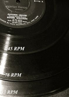 Helpful vinyl record measurements by RPMs - 45, 78 & 33