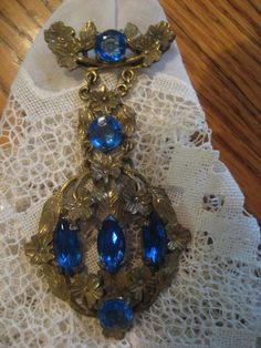 Antique Edwardian Victorian Brooch With Syntheric Sapphires  | eBay