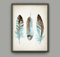 f1f3c33adb3 Watercolor Feathers Wall Art Print  3 - Modern Home Decor - Tribal Native  American Feather Giclee Poster - Watercolour Painting Art