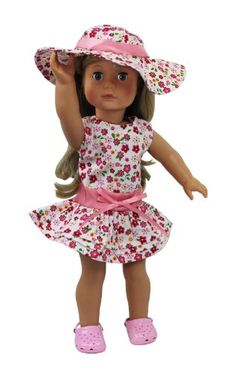 """Amazon.com: Doll Clothes for American Girl Dolls: 3 Piece Flower Sun Dress Outfit - """"Dress Along Dolly"""" (Includes Fancy Flower Sun Dress, Su..."""