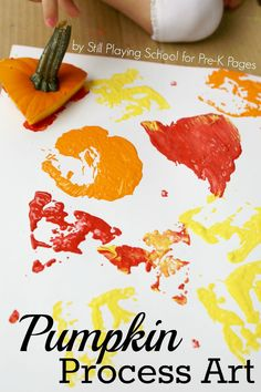 Pumpkin Art Exploration. Perfect for a fall theme in your preschool or pre-k classroom.